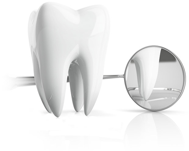 Animation of healthy tooth and dental exam mirror
